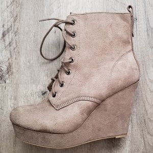 Shi by Journey's Wedge Ankle Bootie Suede Lace Up